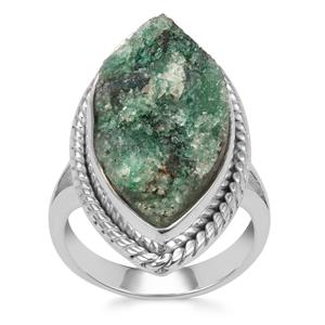 Fuchsite Drusy Ring in Sterling Silver 13cts