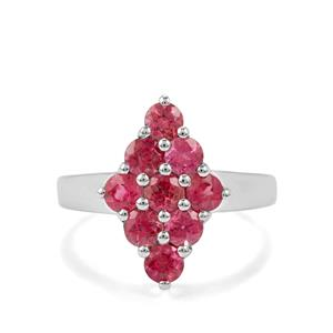 1.53ct Cruzeiro Rubellite Sterling Silver Ring