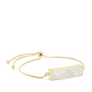 Rainbow Moonstone Slider Bar Bracelet in Gold Plated Sterling Silver 9.85cts