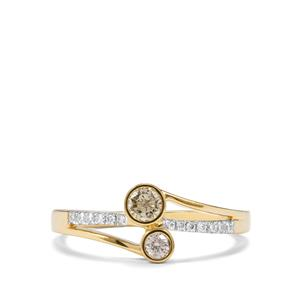 Natural Coloured Diamond Ring with White Diamond in 18K Gold 0.29ct