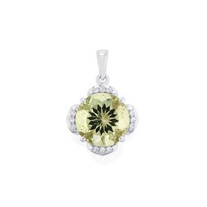 Prasiolite & White Topaz Sterling Silver Centuple Pendant ATGW 6.10cts