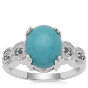 Sleeping Beauty Turquoise Ring with Blue Diamond in Sterling Silver 2.95cts