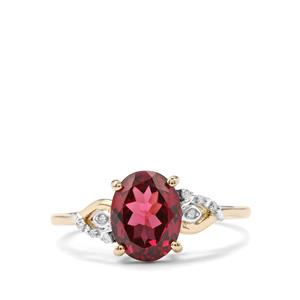 Mahenge Garnet Ring with Diamond in 9K Gold 2.61cts