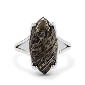 Feather Pyrite Ring in Sterling Silver 11cts