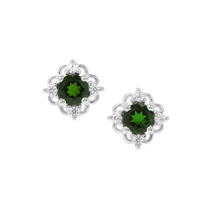 Chrome Diopside & White Zircon Sterling Silver Earrings ATGW 1.80cts