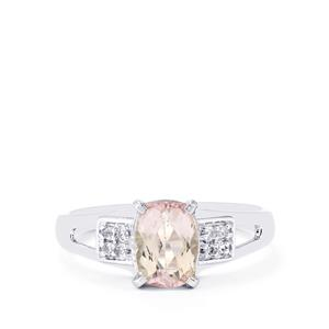 Mawi Kunzite & White Topaz Sterling Silver Ring ATGW 1.81cts