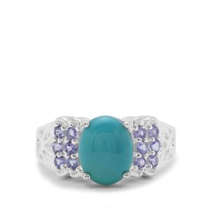 Sleeping Beauty Turquoise Ring with Tanzanite in Sterling Silver 2.55cts