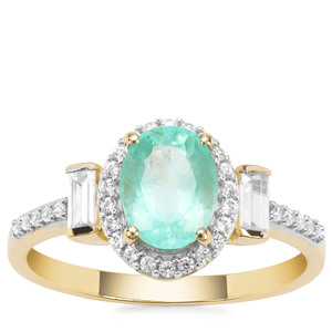 Malysheva Emerald Ring with White Zircon in 9K Gold 1.71cts