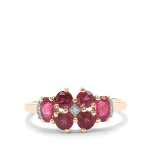 Safira Tourmaline Ring with White Zircon in 9K Gold 1.23cts