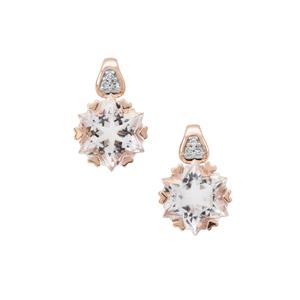 Wobito Snowflake Cut Itinga Petalite Earrings with Diamond in 9K Rose Gold 3.75cts