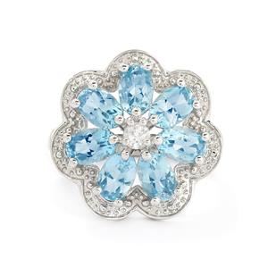 3.88ct Swiss Blue & White Topaz Sterling Silver Ring