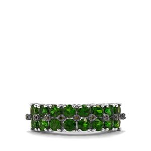 Chrome Diopside & Green Diamond Sterling Silver Ring ATGW 2.13cts
