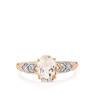 Mawi Kunzite Ring with White Zircon in 10k Rose Gold 2.67cts