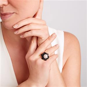 Black Onyx, Kaori Cultured Pearl & White Topaz Sterling Silver Ring