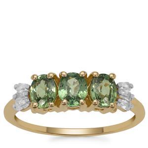 Green Dragon Demantoid Garnet Ring with White Zircon in 9K Gold 1.50cts