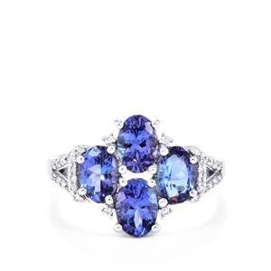 AA Tanzanite Ring with Diamond in 18K White Gold 2.71cts