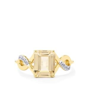 Champagne Danburite Ring with White Zircon in 10k Gold 2.46cts