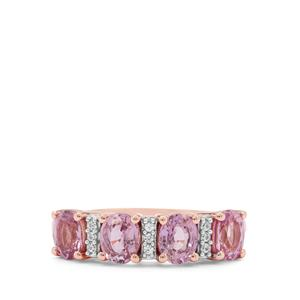 Pink Sapphire Ring with White Zircon in 9K Rose Gold 1.75cts