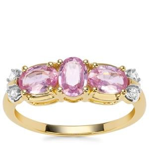 Sakaraha Pink Sapphire Ring with Ceylon White Sapphire in 9K Gold 1.58cts