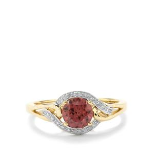 Zanzibar Zircon Ring with Diamond in 9K Gold 1.20cts