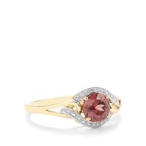 Zanzibar Zircon Ring with Diamond in 10K Gold 1.20cts