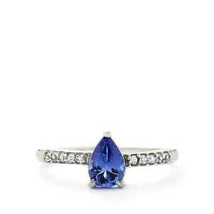AA Tanzanite & White Zircon 9K White Gold Ring ATGW 0.79cts