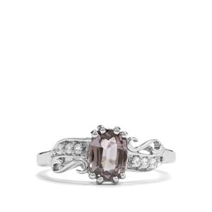 Burmese Pink Spinel & White Zircon Sterling Silver Ring MTGW 1.03cts