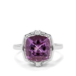 Bahia Amethyst & White Zircon Sterling Silver Ring ATGW 4.41cts