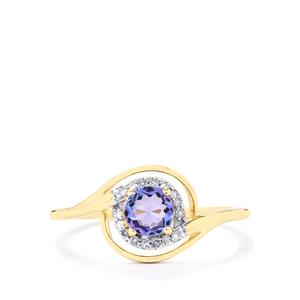 AA Tanzanite Ring with Diamond in 10k Gold 0.53ct