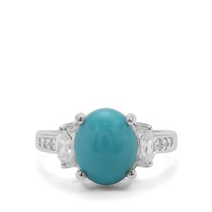 Sleeping Beauty Turquoise Ring with White Zircon in Sterling Silver 3.63cts