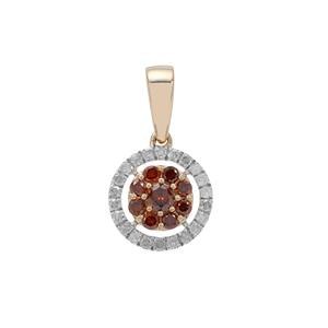 Red Diamond Pendant with White Diamond in 9K Gold 0.35ct