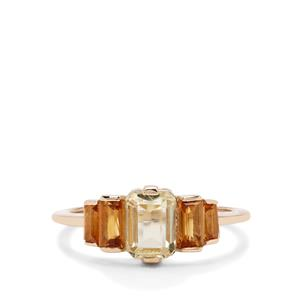 Minas Novas Hiddenite Ring with Diamantina Citrine in 9K Gold 1.97cts