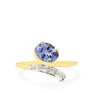 Bi-Color Tanzanite Ring with Diamond in 10k Gold 1.10cts