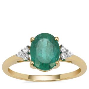 Kafubu Emerald Ring with White Zircon in 9K Gold 1.85cts