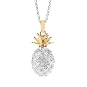 Ratanakiri Zircon Pineapple Perfume Locket Necklace in Two Tone Gold Plated Sterling Silver 1.45cts