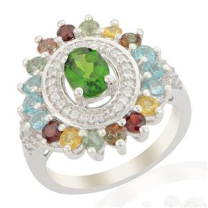 Chrome Diopside & Multi Gemstone Sterling Silver Ring ATGW 2.48cts
