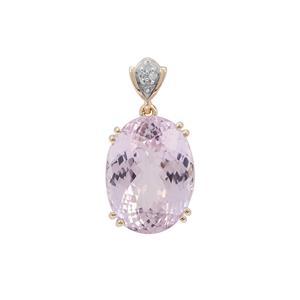 Kolum Kunzite Pendant with Diamond in 9K Gold 12.05cts