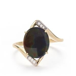 AA Ammolite Ring with White Zircon in 9K Gold (12 x 10mm)