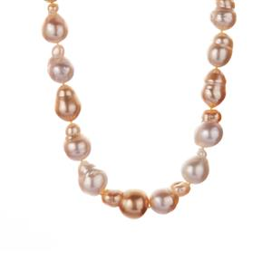 South Sea & Golden South Sea Cultured Pearl Necklace in Sterling Silver (13.50 x 10.50mm)