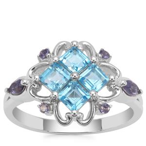 Swiss Blue Topaz Ring with Iolite in Sterling Silver 1.37cts