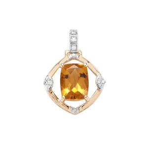 Mansa Beryl Pendant with White Zircon in 9K Gold 1.94cts