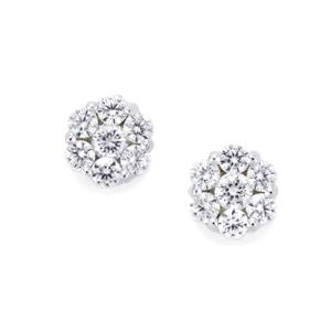 White Zircon Earrings in Sterling Silver 0.84cts