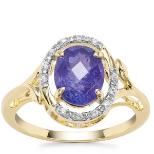 AA Tanzanite Ring with White Zircon in 9K Gold 2.51ct