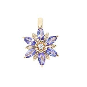 AA Tanzanite Pendant with White Zircon in 9K Gold 1.63cts