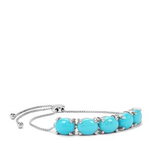 Sleeping Beauty Turquoise Slider Bracelet in Sterling Silver 10.98cts