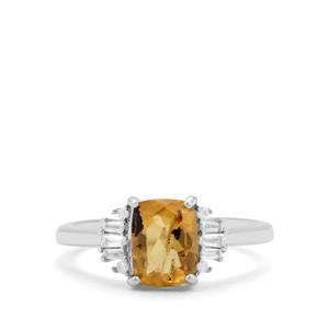 Burmese Amber & White Zircon Sterling Silver Ring ATGW 0.74ct