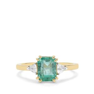 Zambian Emerald Ring with White Zircon in 9K Gold 2.03cts