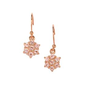 Kaffe Tourmaline Earrings in Rose Gold Plated Sterling Silver 0.92ct