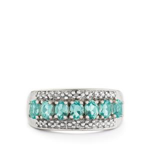 Madagascan Blue Apatite & Diamond Sterling Silver Ring ATGW 1.30cts