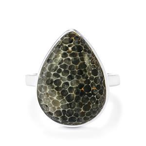 Fossil Black Coral Ring in Sterling Silver 13.61cts